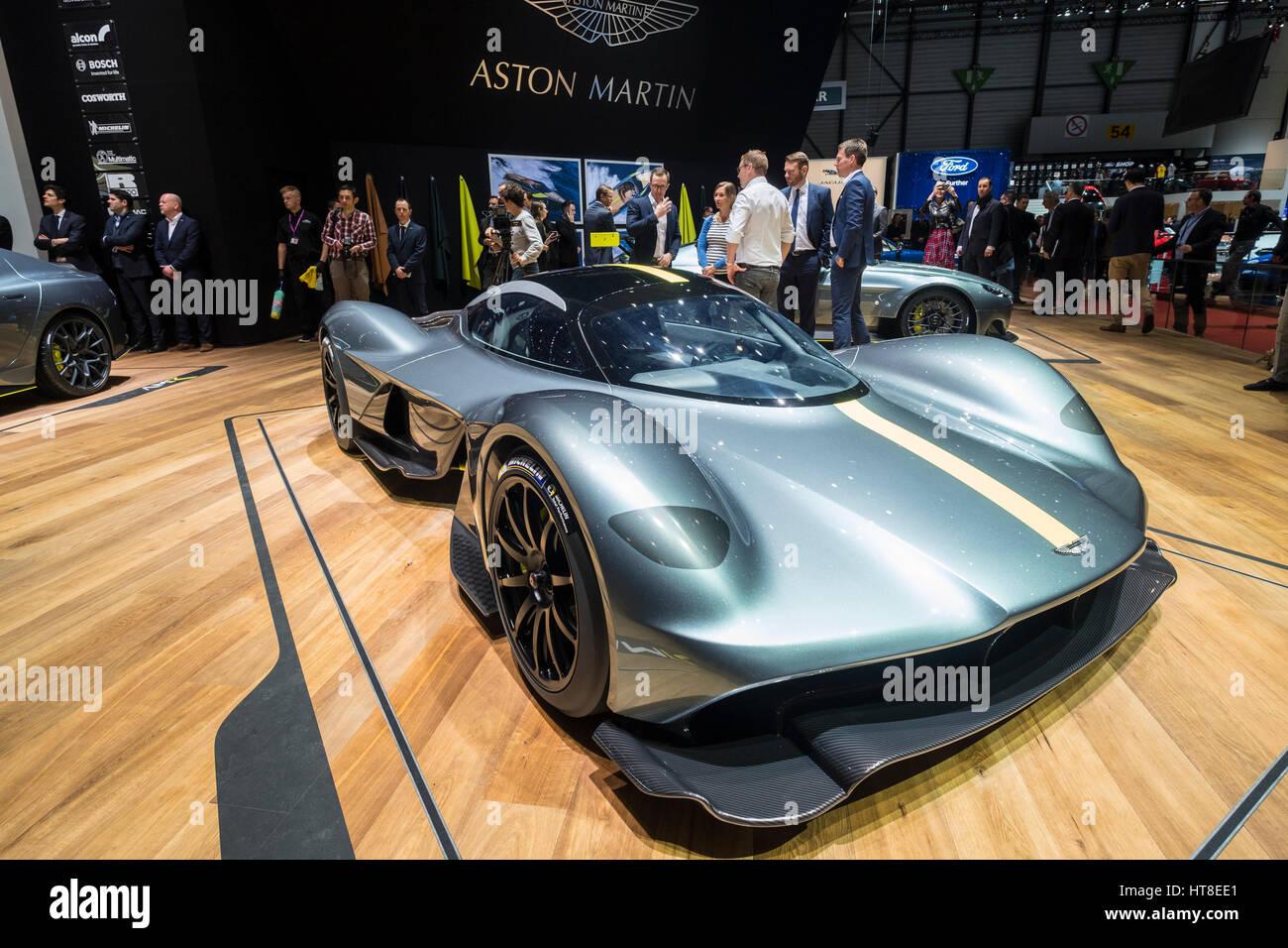 World premiere of Aston Martin AMR Valkyrie super car at Geneva International Motor Show 2017 - Stock Image