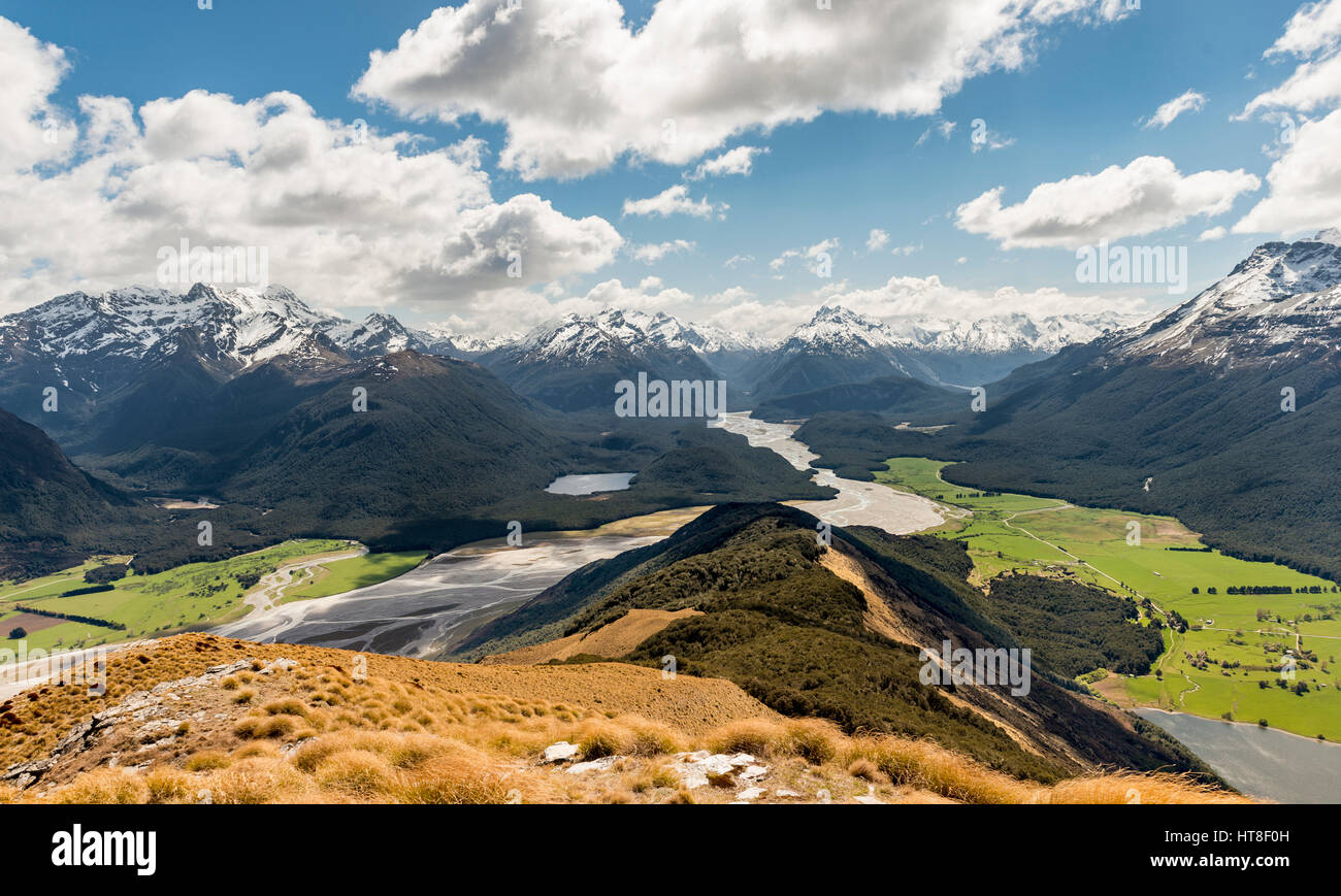 View on Dart River and mountain scenery, Mount Alfred, Glenorchy at Queenstown, Southern Alps, Otago, Southland, Stock Photo