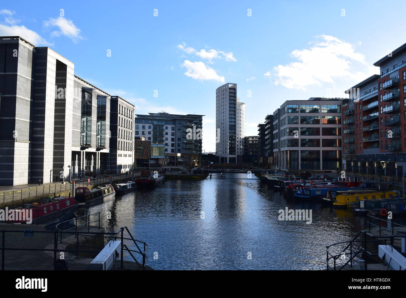Leeds Dock is a mixed development with retail, office and leisure presence by the River Aire in central Leeds, West - Stock Image