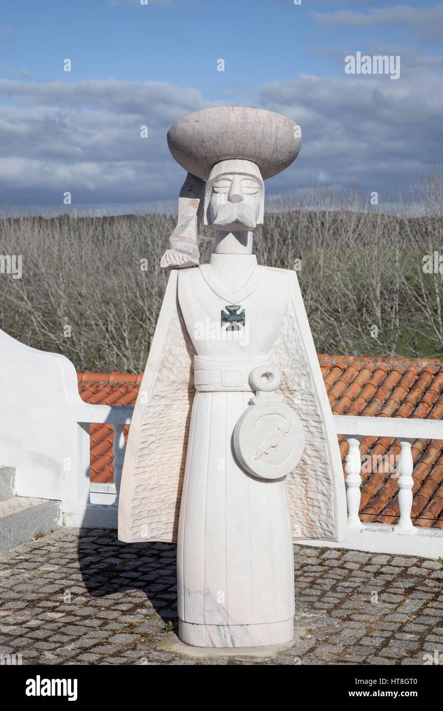 Stylised sculpture of Prince Henry, Aljezur - Stock Image