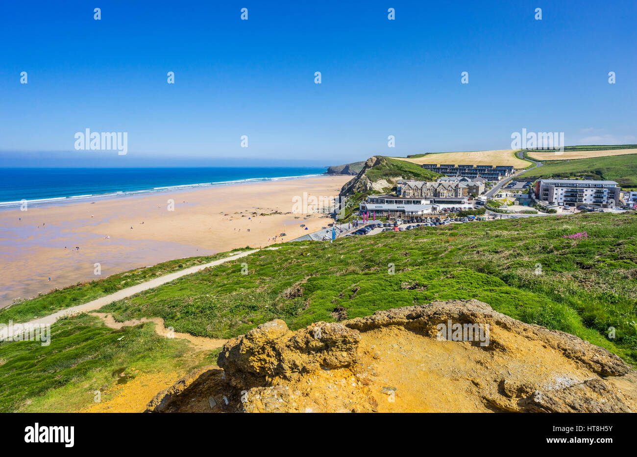 United Kingdom, Cornwall, Watergate Bay, beach and seaside resort north of Newquay - Stock Image