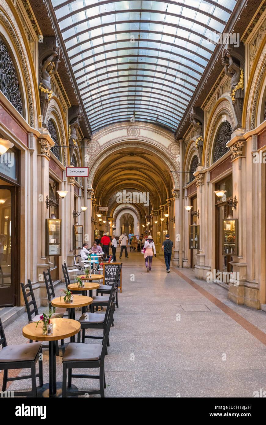 Vienna. Cafe and shops in the Freyung Passage, Palais Ferstel, Innere Stadt, Vienna, Austria - Stock Image