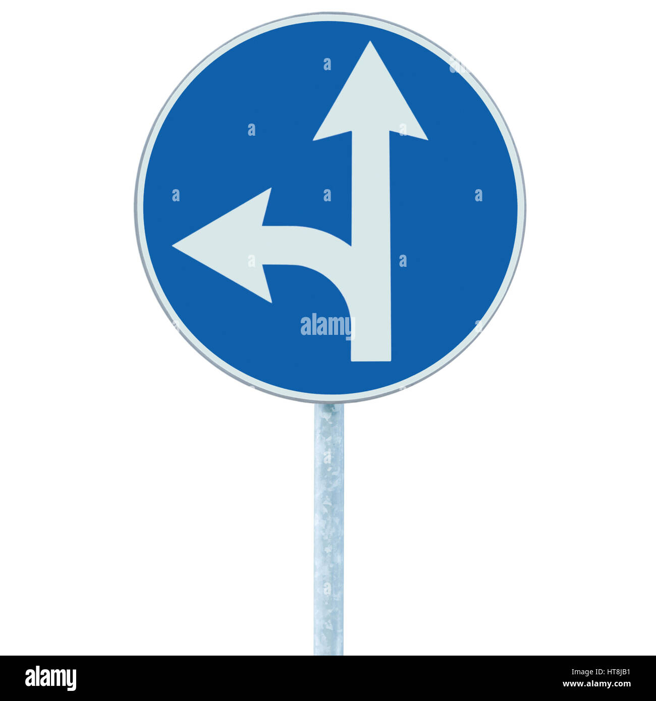 Mandatory straight or left turn ahead, traffic lane route direction sign pointer road sign, choice concept blue - Stock Image