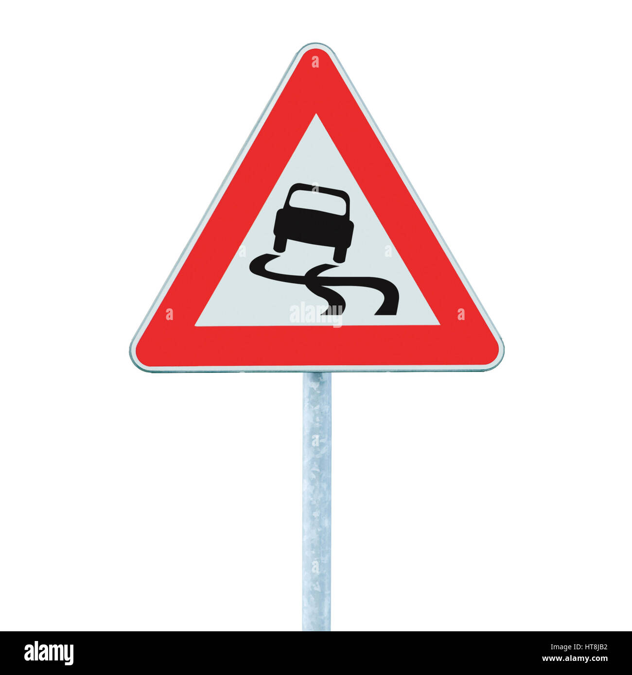 Slippery when wet road sign, isolated signpost and traffic signage - Stock Image