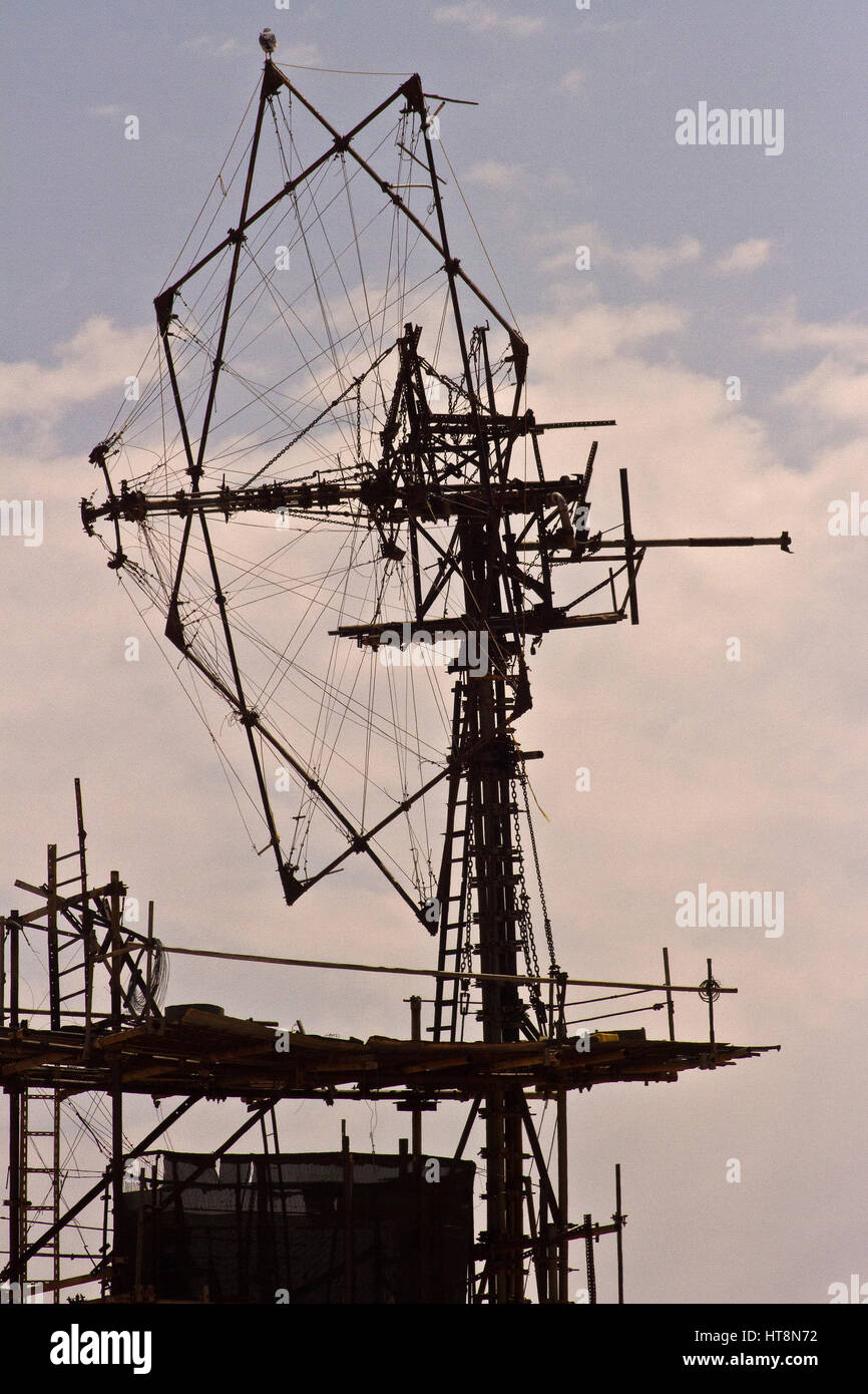 A huge Unfinished wind pump standing at the start of the D707 in the south of Namibia Stock Photo