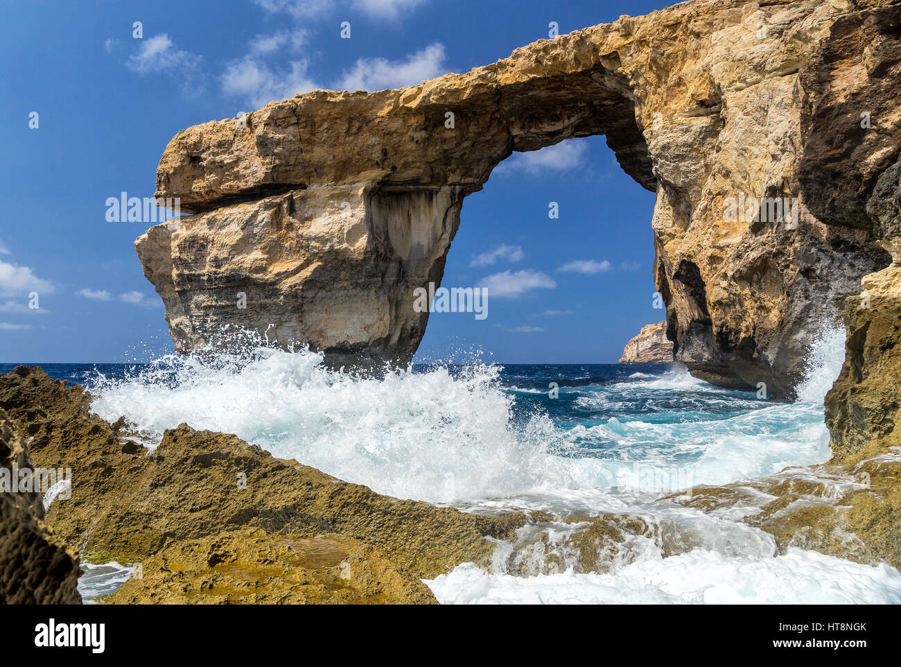 Azure Window - beautiful rock formation on Gozo, Malta. This is remembrance of that world miracle - sea took this Stock Photo