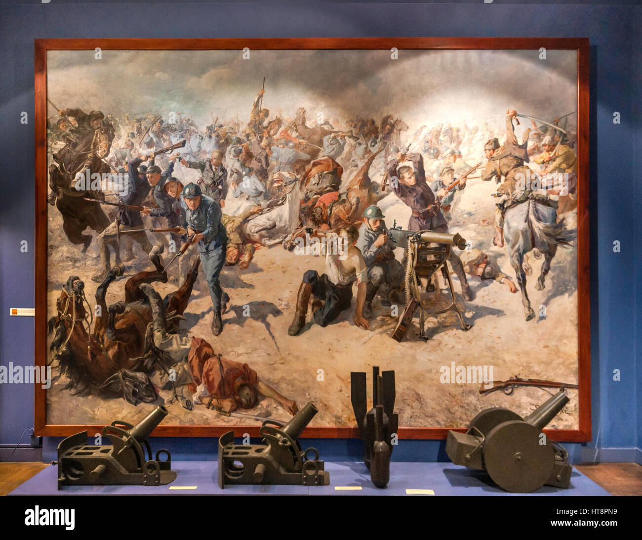 Polish-Soviet War of 1920 exhibits, Battle of Zadworze painting by Stefan Batorski, Polish Army Museum in Warsaw, - Stock Image