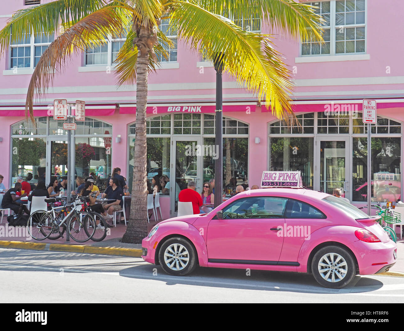 Miami's South Beach popular restaurant Big Pink. - Stock Image