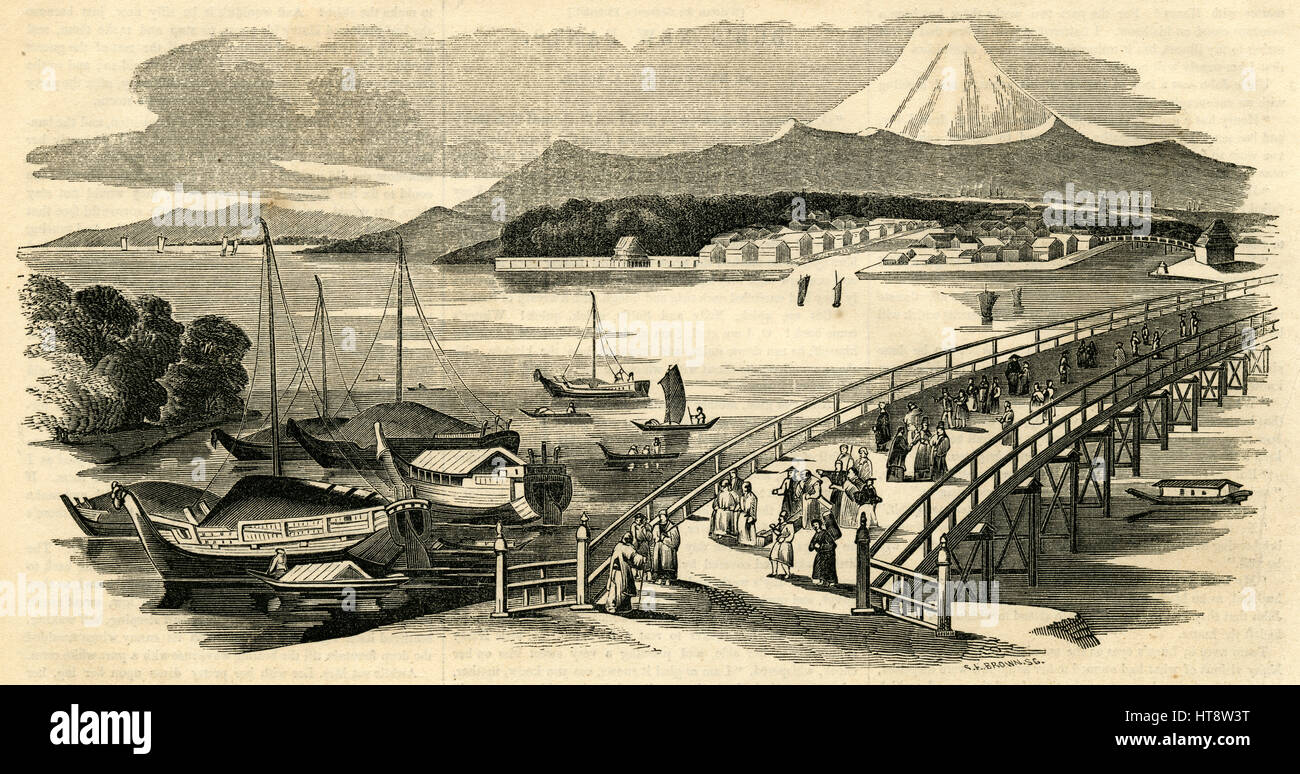 Antique 1854 engraving, 'View of Jeddo, the Capital City of Japan.' Jeddo and Yedo or Yeddo are anglicisations - Stock Image