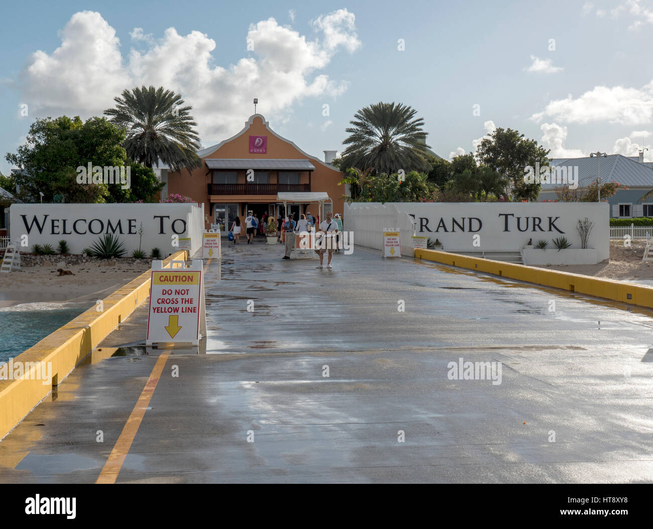 The Cruise Ship Centre Grand Turk Welcome Sign As Cruise Ship Passengers See The Sign From Disembarking Their Ship - Stock Image