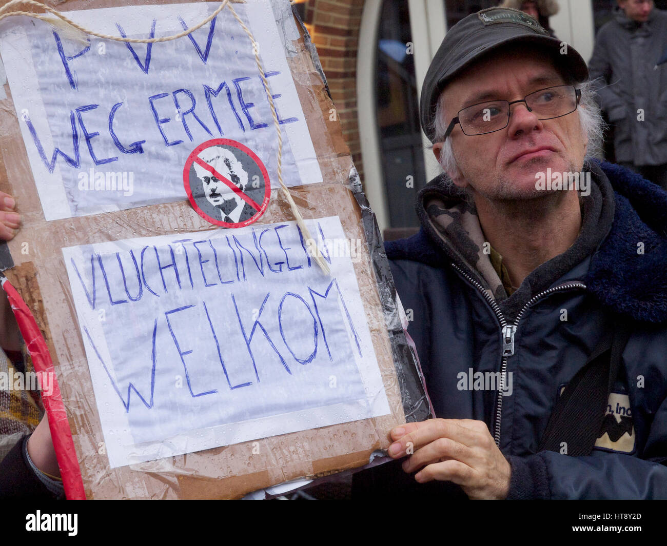 anti PVV Geert Wilders protester in Breda, the Netherlands - Stock Image