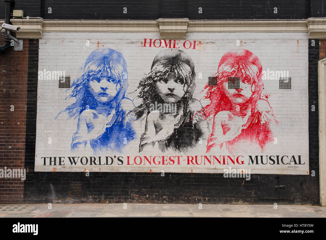 Mural in Soho promoting 'Les Miserables', the world's longest-running musical, showing at the Queens - Stock Image