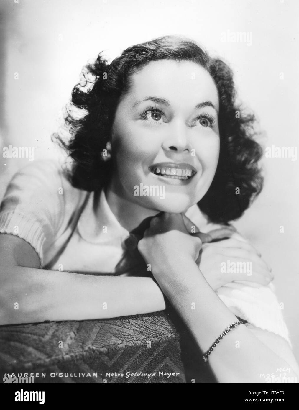 'Blue-eyed Maureen O'Sullivan, M-G-M featured player, seems to be one of the busiest actresses in Hollywood, - Stock Image