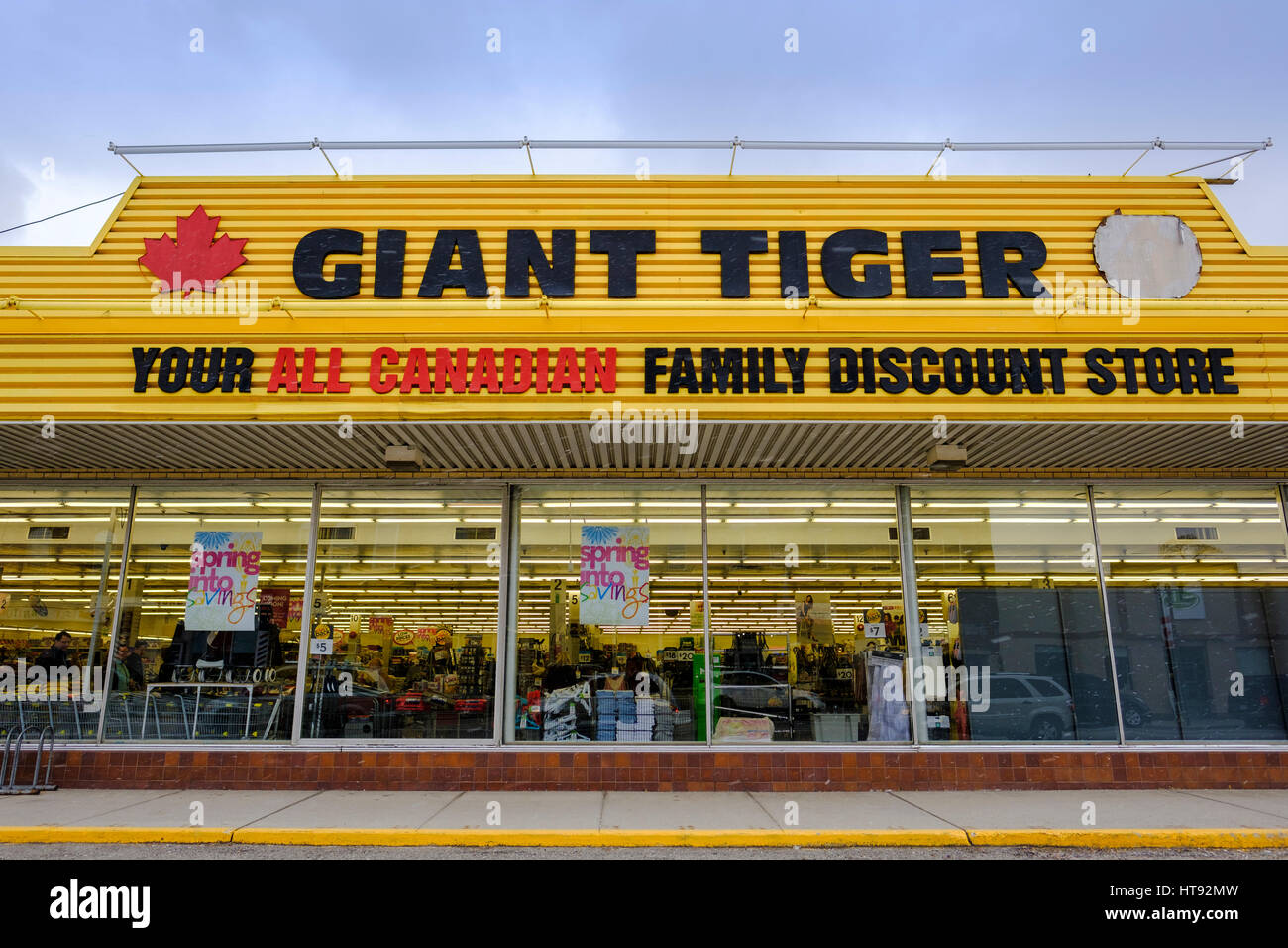 Flurries fall over the facade of the Giant Tiger Store, a Canadian retail chain store, in St Thomas, Ontario, showing - Stock Image
