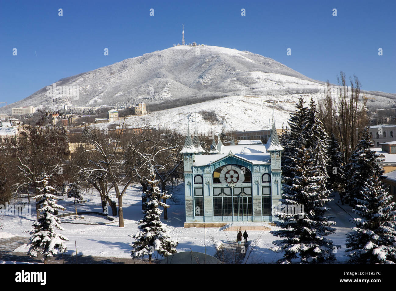View on mountain Mashuk and  Lermontov gallery, famous places of Pyatigorsk. - Stock Image