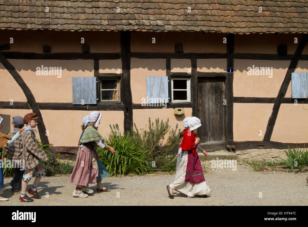 The Écomusée d'Alsace is the largest living open-air museum in France and shows an Alsatian village from - Stock Image