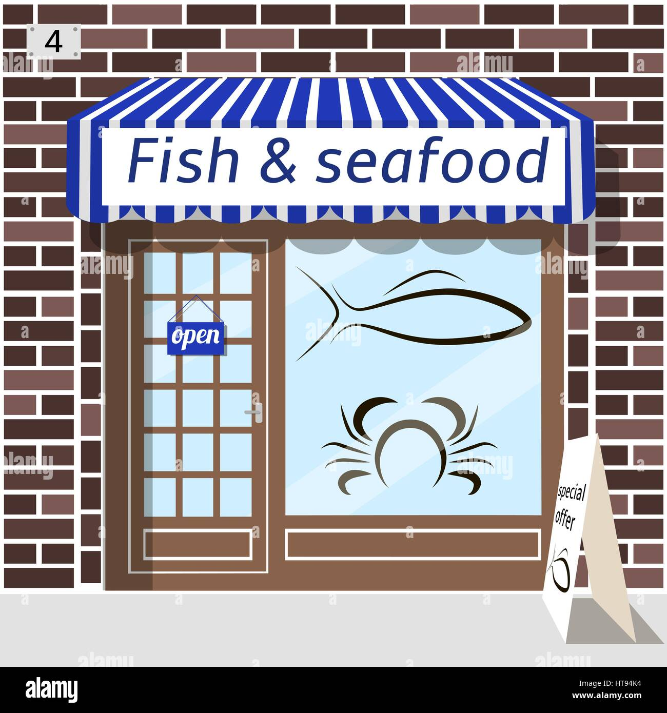 Fish and seafood shop. - Stock Vector