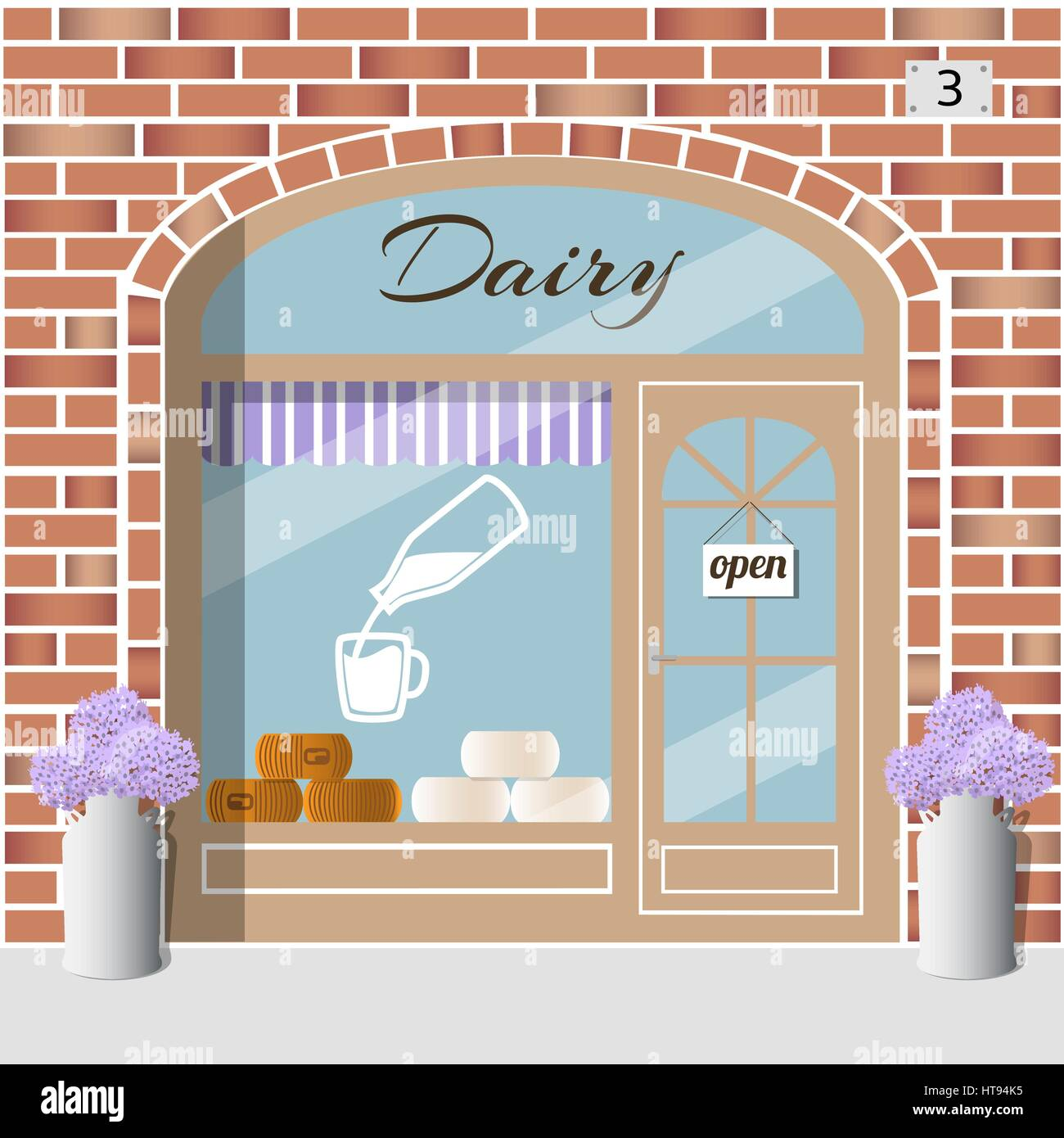 Dairy products shop. - Stock Vector