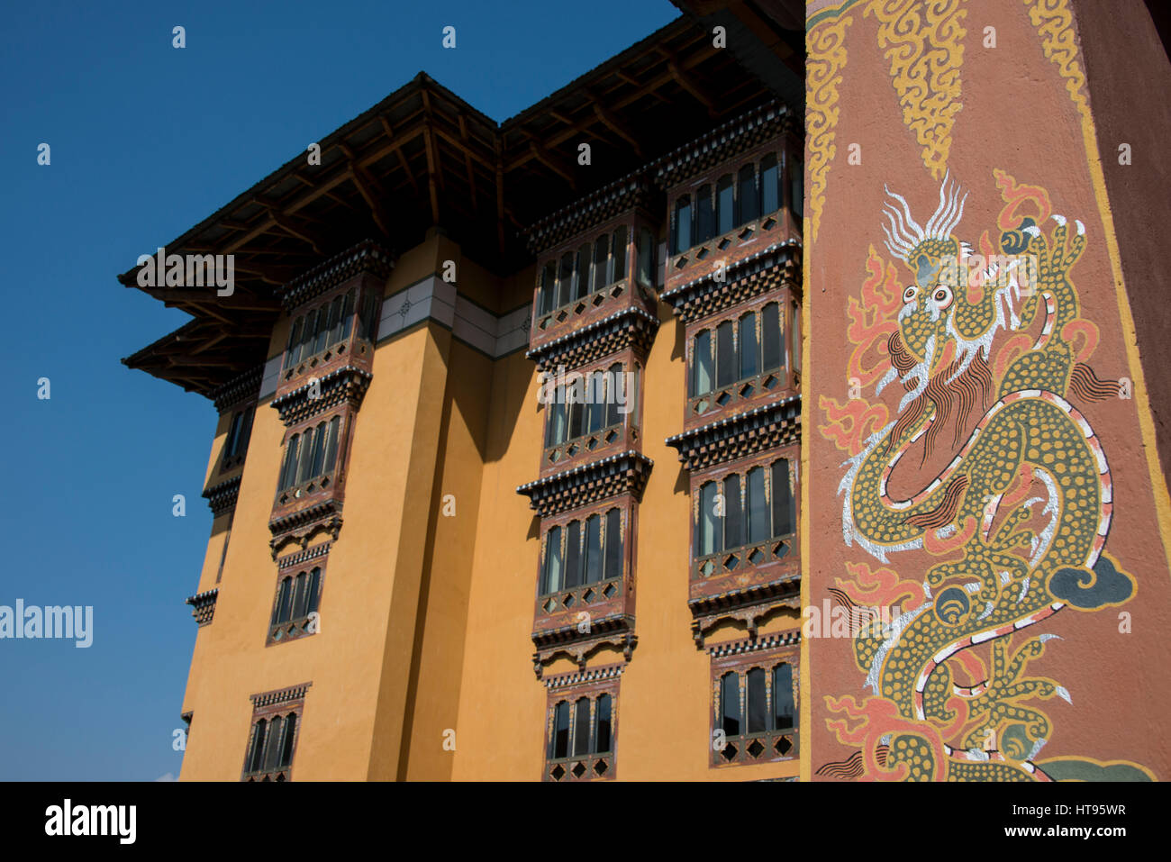 Bhutan, Thimphu, capital of Bhutan. Five-star luxury hotel Taj Tashi Hotel, detail of typical Bhutanese style architecture. - Stock Image