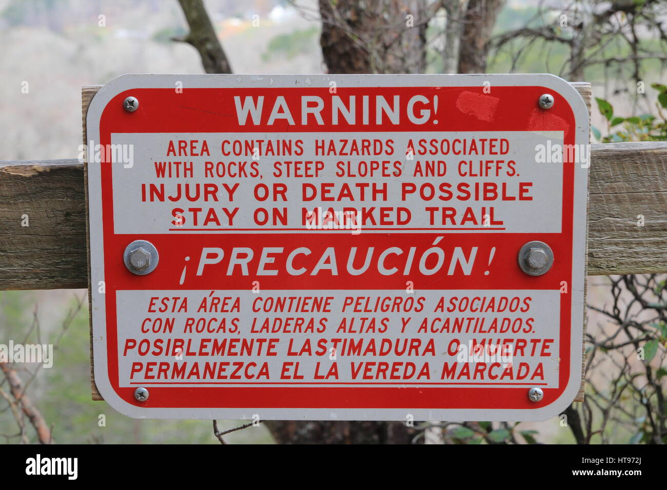 Warning Stay on Marked Trail Sign - Stock Image
