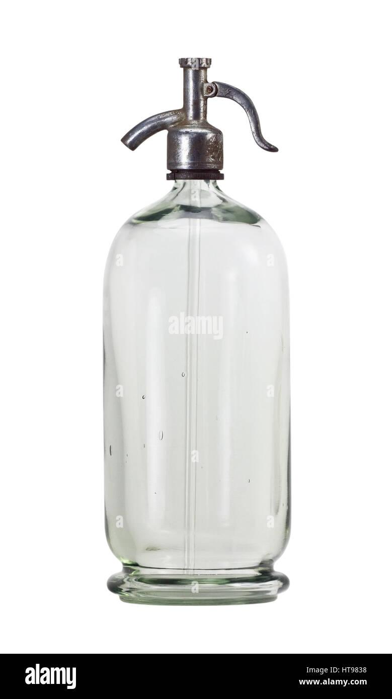 Old soda siphon bottle isolated on white background - Stock Image