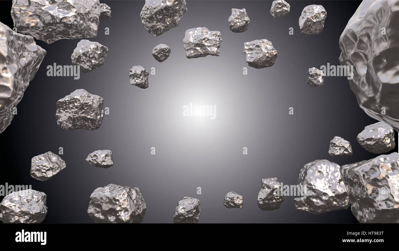 Abstract background in the space with silver asteroids