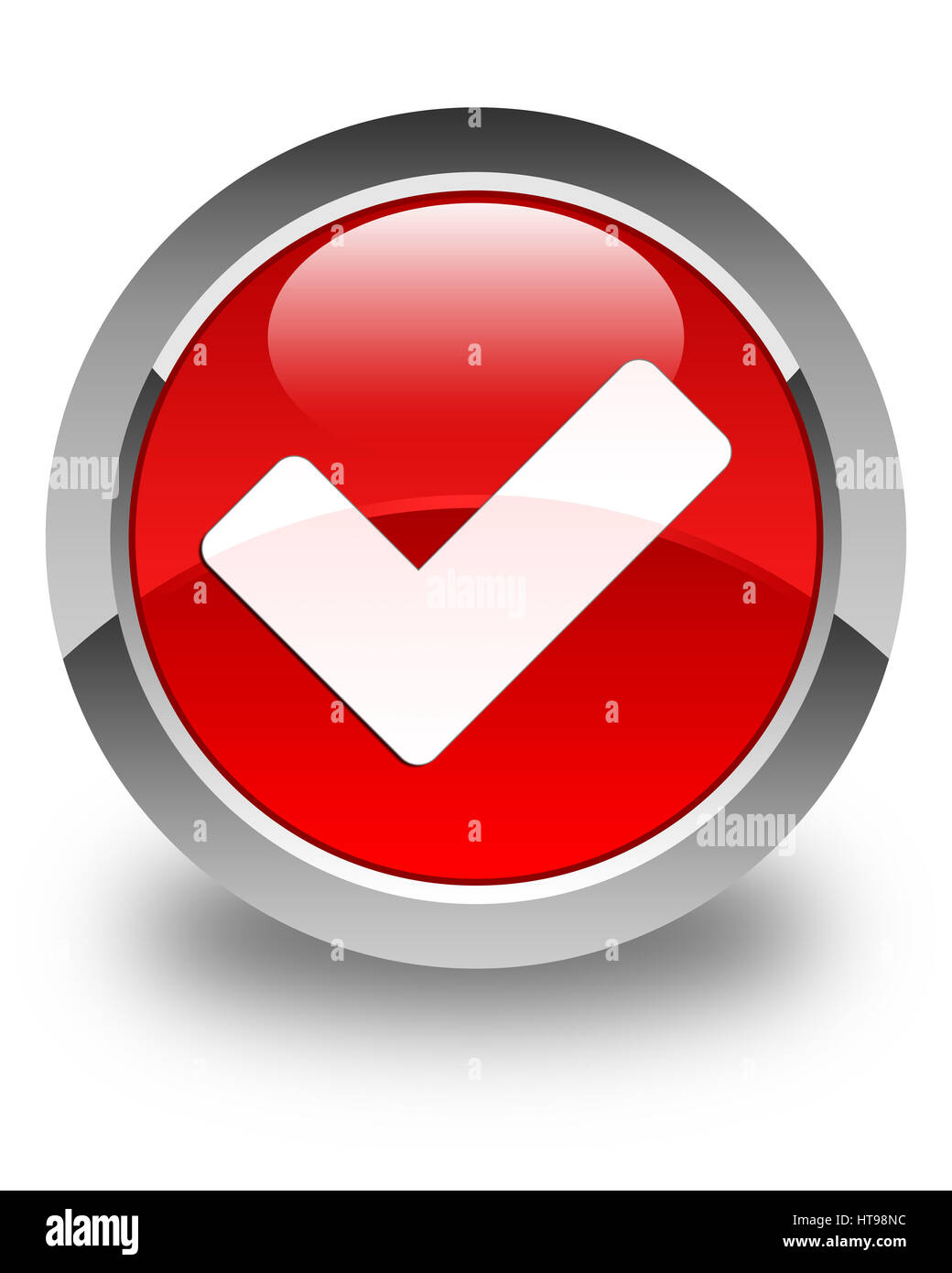 Validate icon isolated on glossy red round button abstract illustration - Stock Image