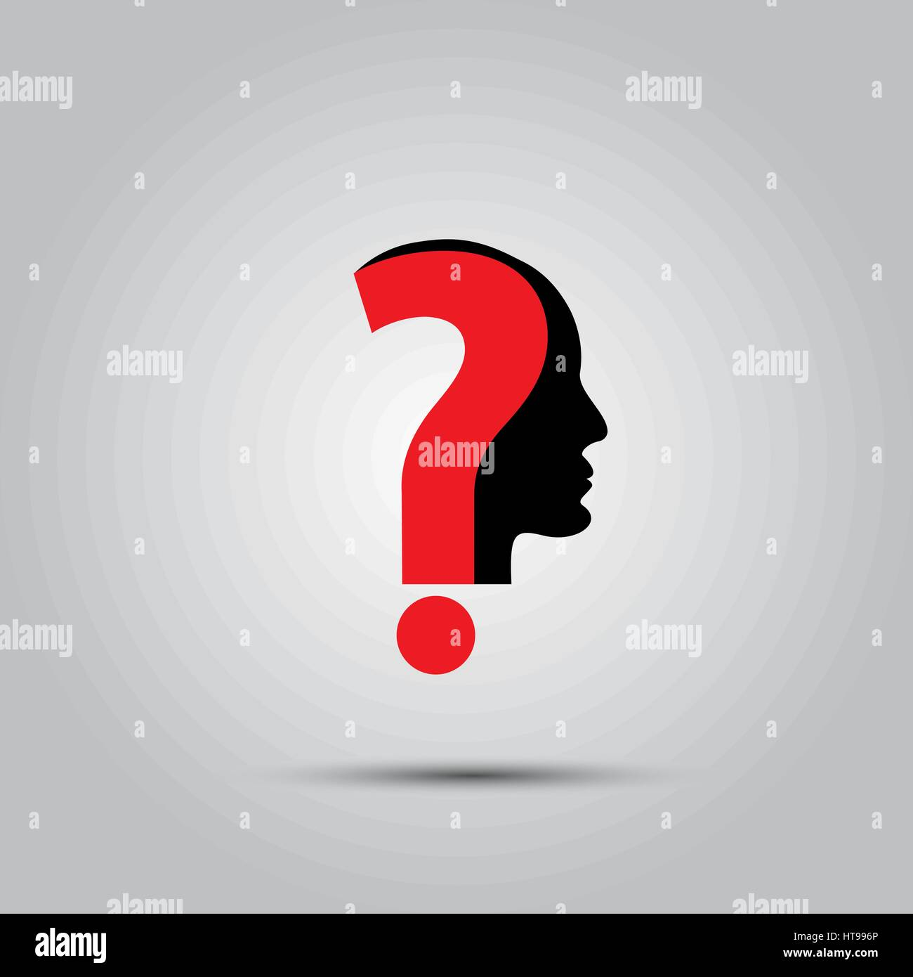 Human face with question mark. Illustration on white - Stock Image