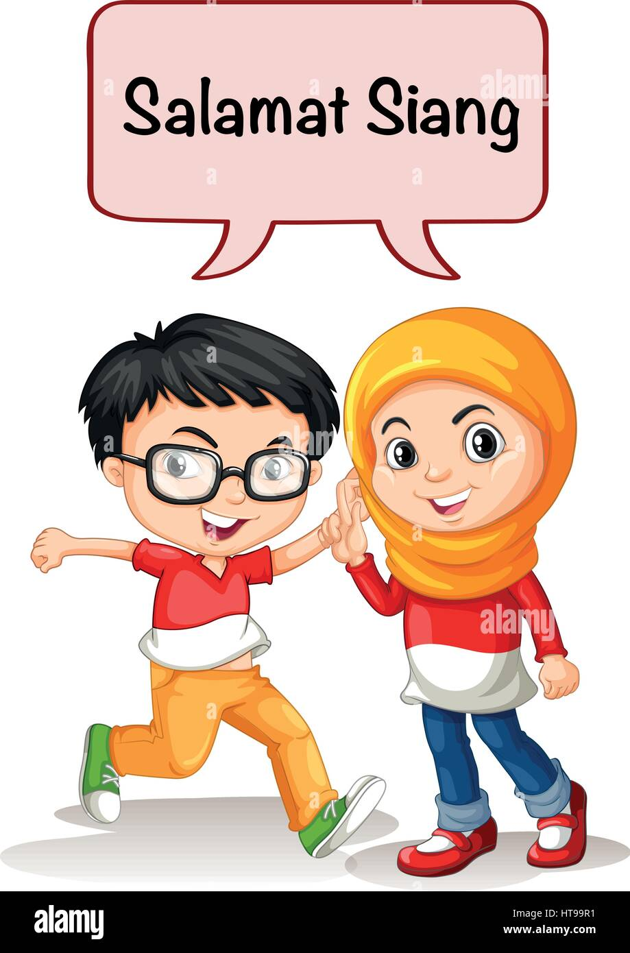 Boy and girl greeting in indonesian language illustration stock boy and girl greeting in indonesian language illustration m4hsunfo