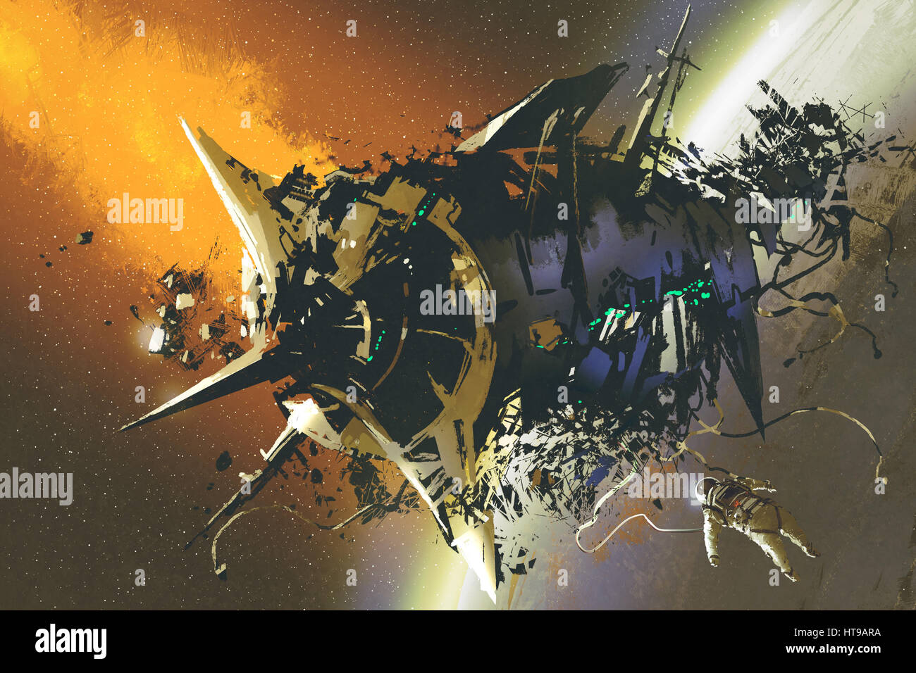 the damaged spaceship and dead astronaut floating in outer space,illustration painting - Stock Image