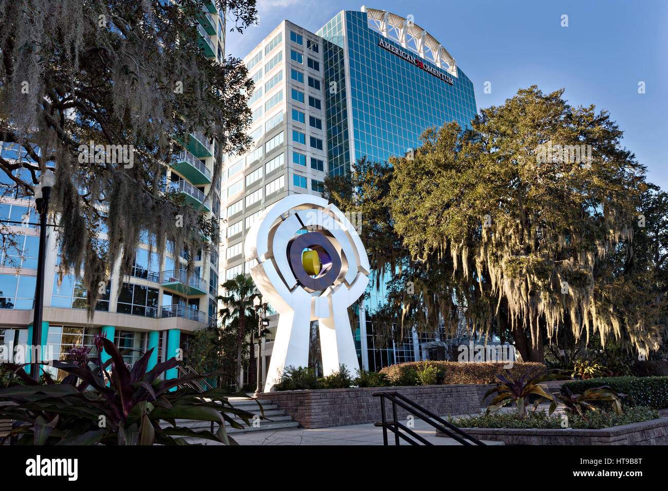 Monumental sculpture Centered by artist C.J Rench along Lake Eola Park in Orlando, Florida. Lake Eola Park is located - Stock Image