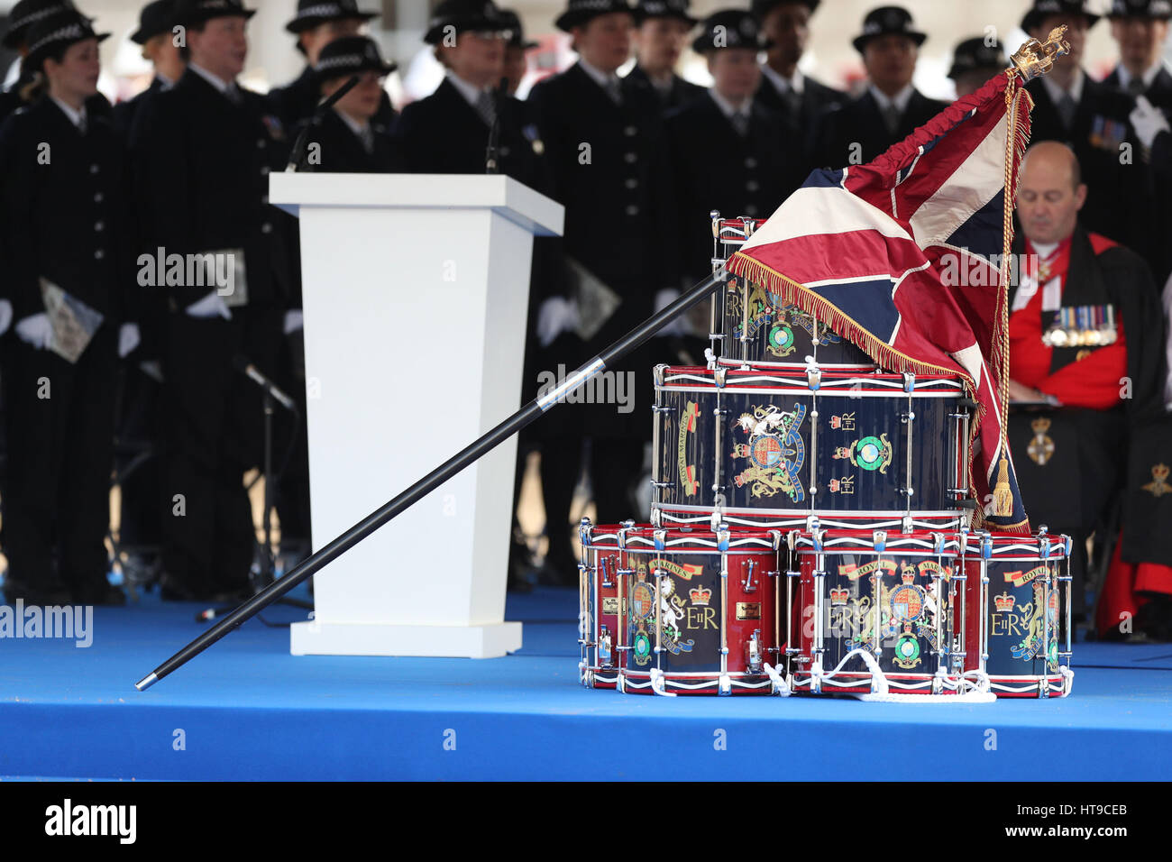 The Military Drumhead Service on Horse Guards Parade in London, ahead of the unveiling of a national memorial honouring - Stock Image