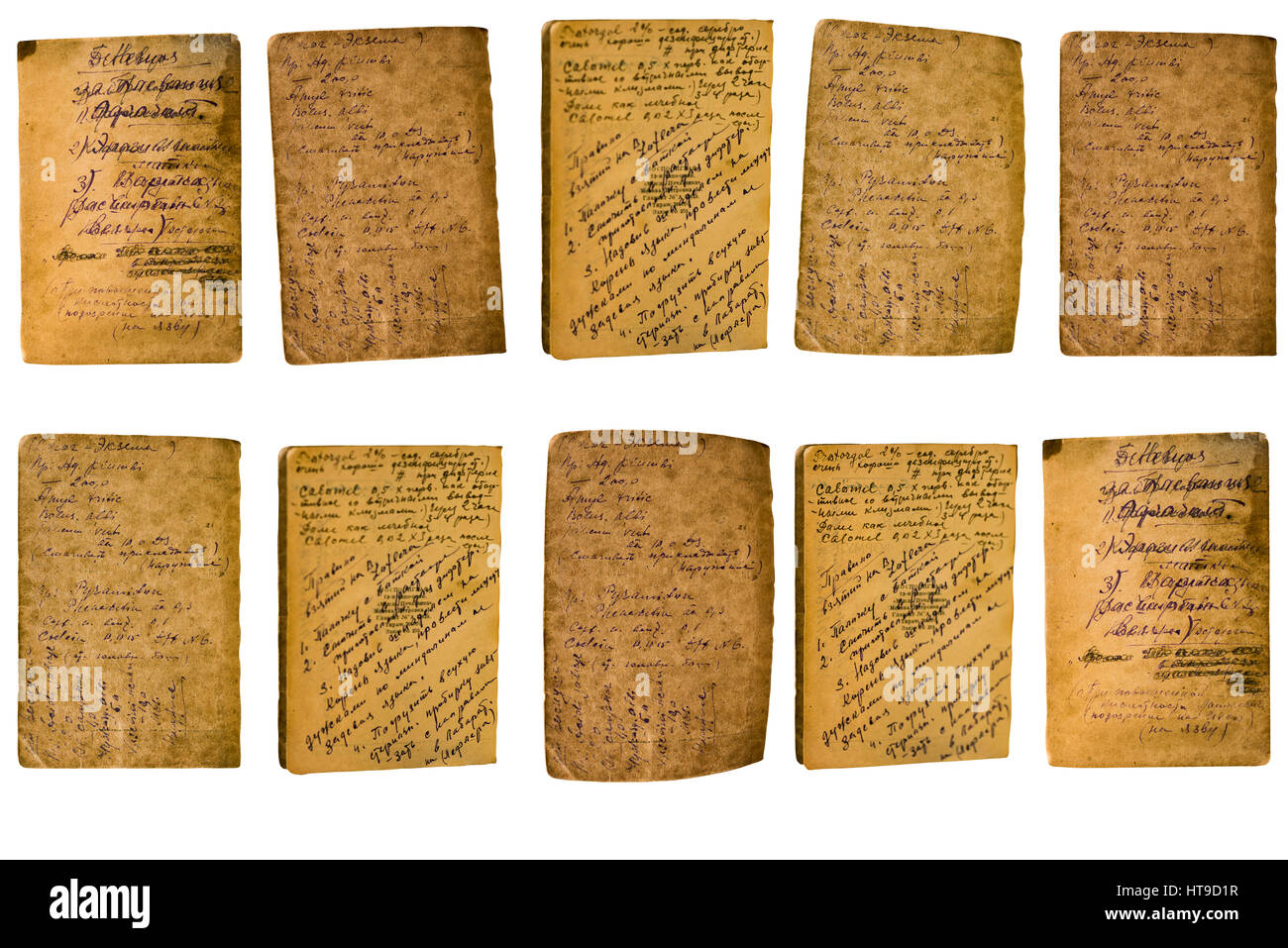 Collage of old sheets of paper with a written ink recipe on a white background - Stock Image