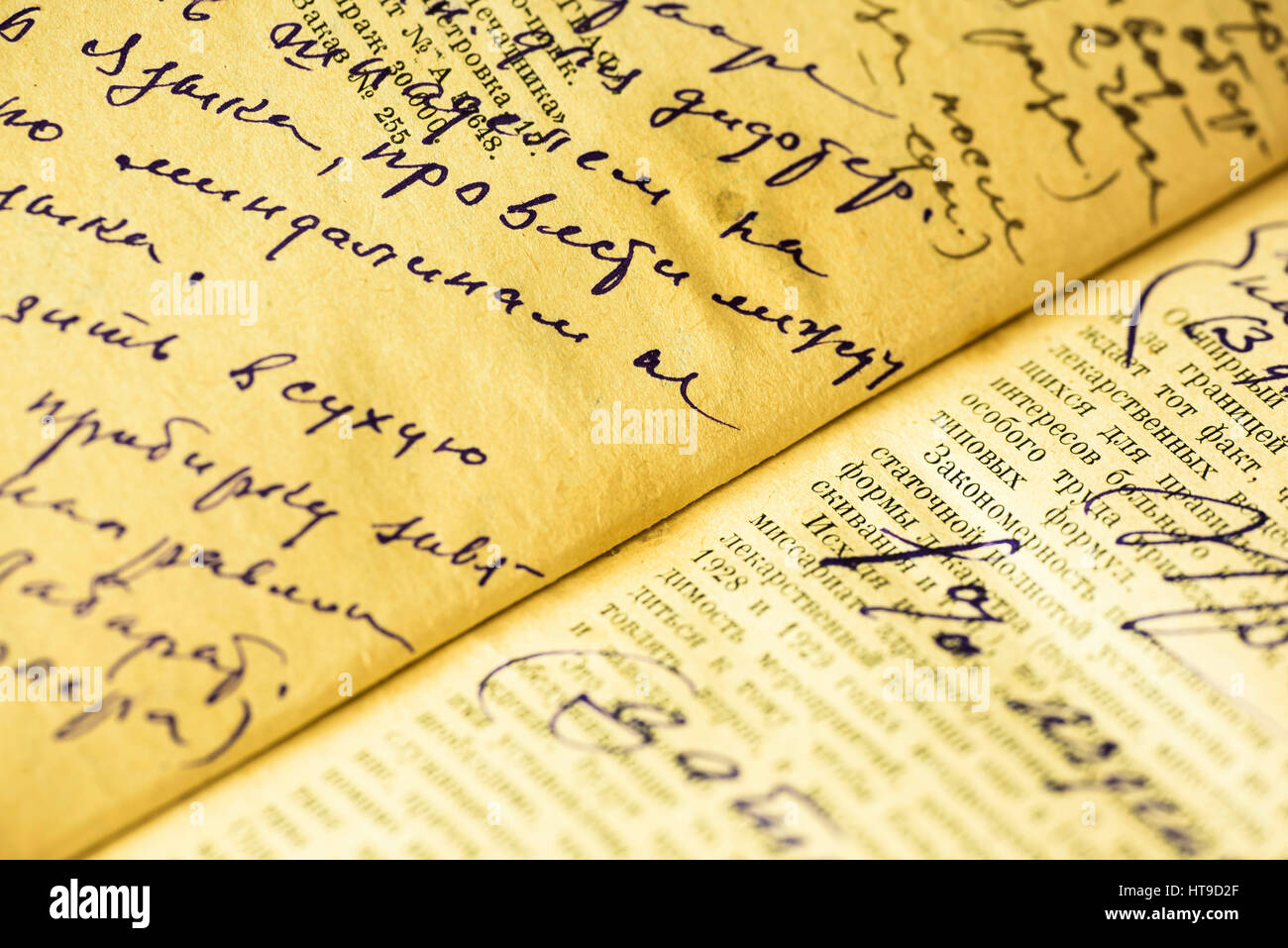 Old sheet of paper with a written ink recipe by hand - Stock Image