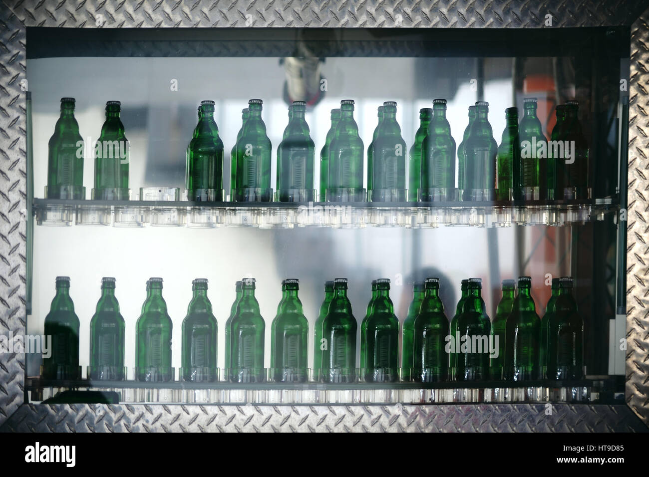 Green glass bottles with a drink are lined up in a glass shelf of a ...
