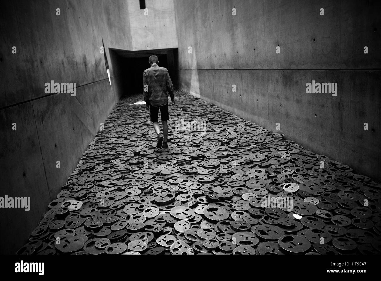 Berlin. Germany. Jewish Museum. Shalekhet (Fallen Leaves) art installation in the Memory Void, by Israeli artist - Stock Image