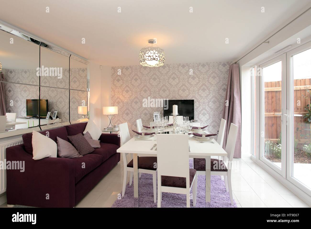 Home interior, dining room, feature wall, mirror wall, french doors ...