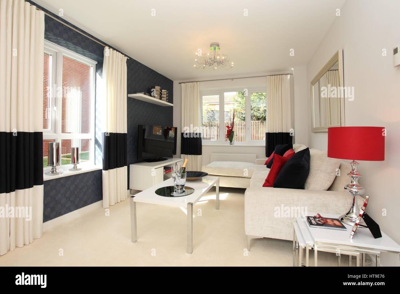 Home interior. living room, cream sofa, blue grey wall, cream carpet ...