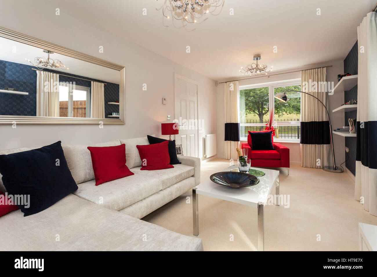 Home Interior, Modern House, New Build Lounge, Living Room, Low Furniture,  Cream, Red, Blue,