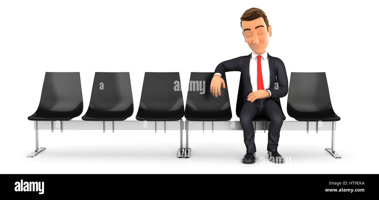 3d businessman sleeping in waiting room, illustration with isolated white background Stock Photo