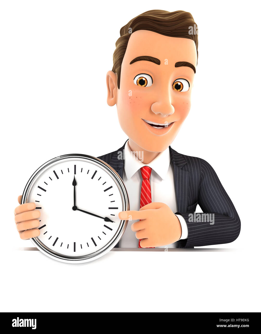 3d businessman pointing on a wall clock, illustration with isolated white background Stock Photo