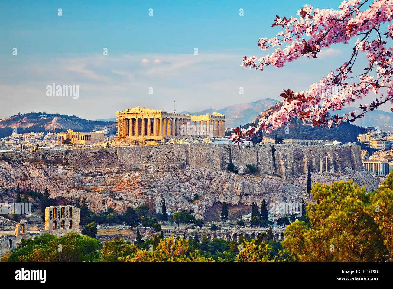 View on Acropolis at sunset, Athens, Greece - Stock Image