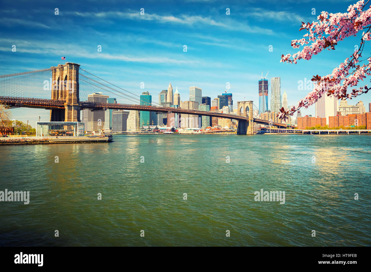 Brooklyn bridge and Manhattan at spring, New York City - Stock Image