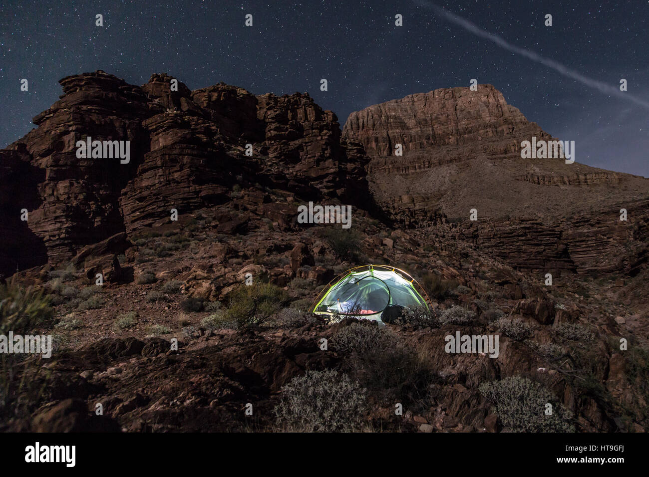 Camping in the wilderness of the Grand Canyon - Stock Image