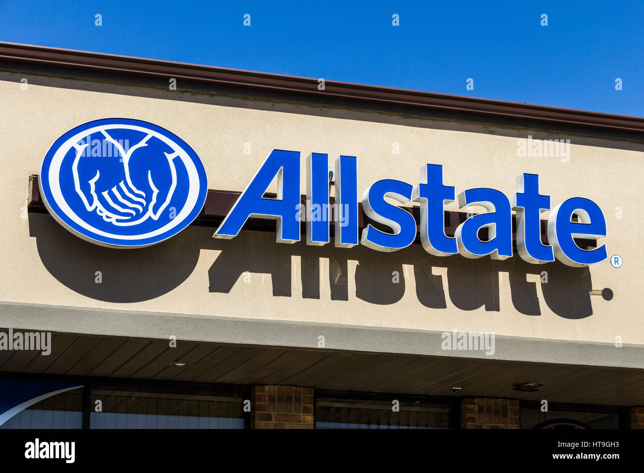 Muncie - Circa March 2017: Allstate Insurance Logo and Signage. The Allstate Corporation is the second largest personal - Stock Image