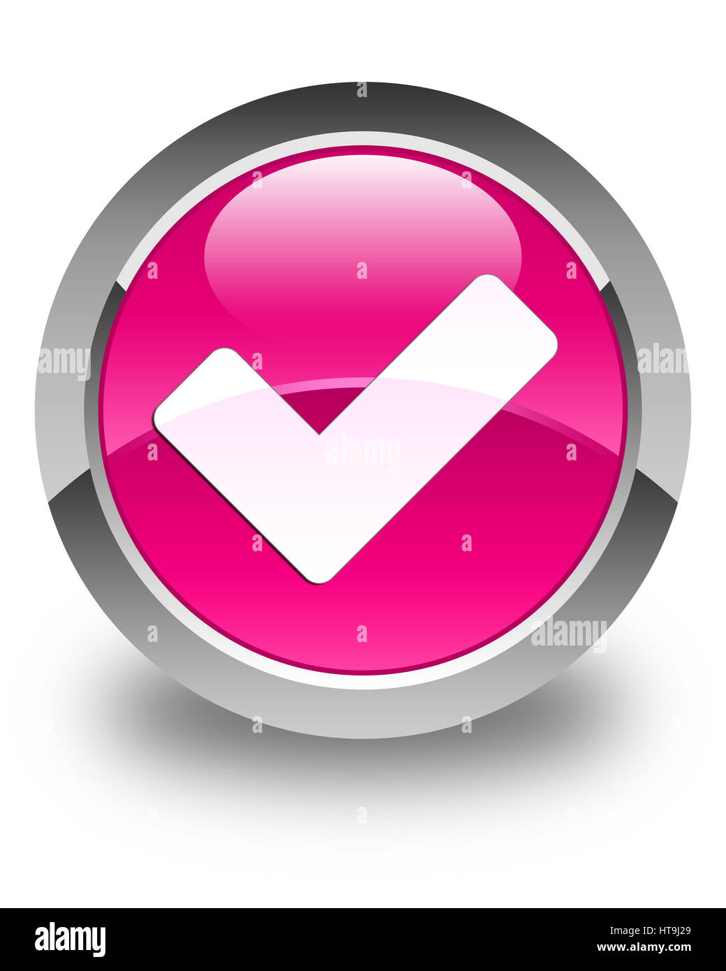 Validate icon isolated on glossy pink round button abstract illustration - Stock Image