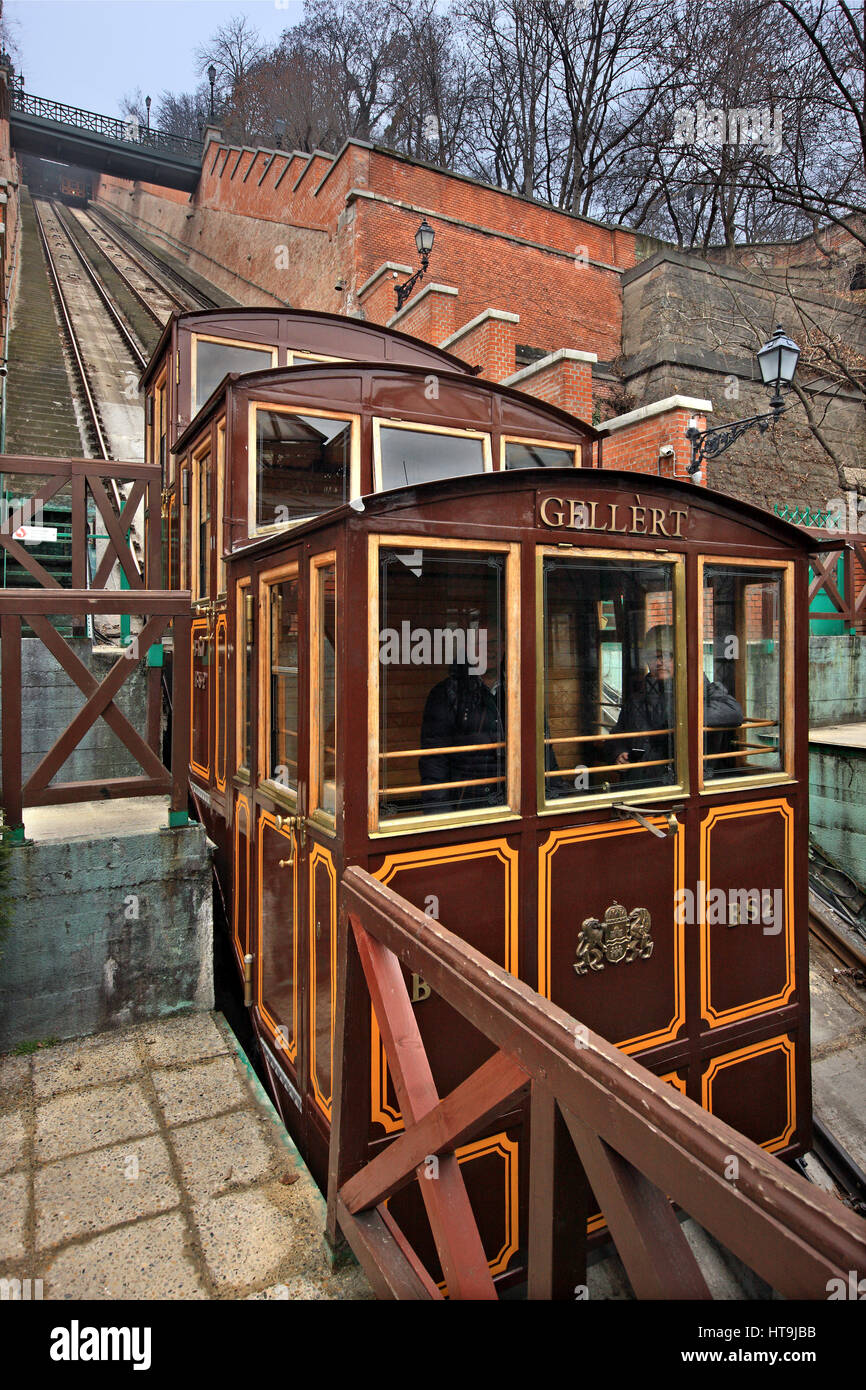 The Budapest Castle Hill Funicular or Budavári Sikló is a funicular railway that leads to the Castle Hill and the Stock Photo