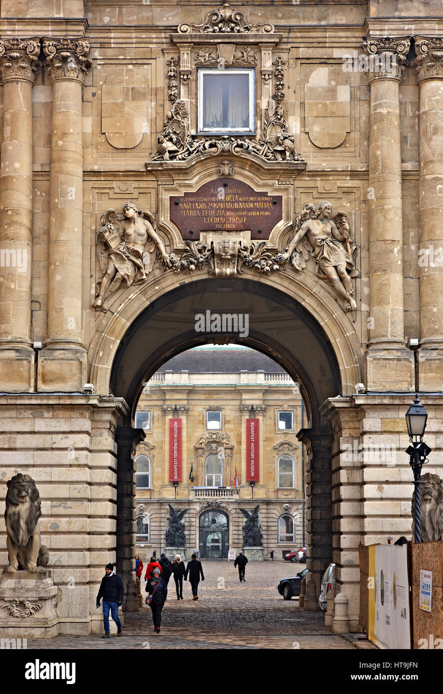 The entrance to the Royal Palace, Castle Hill, Buda, Budapest, Hungary. Stock Photo