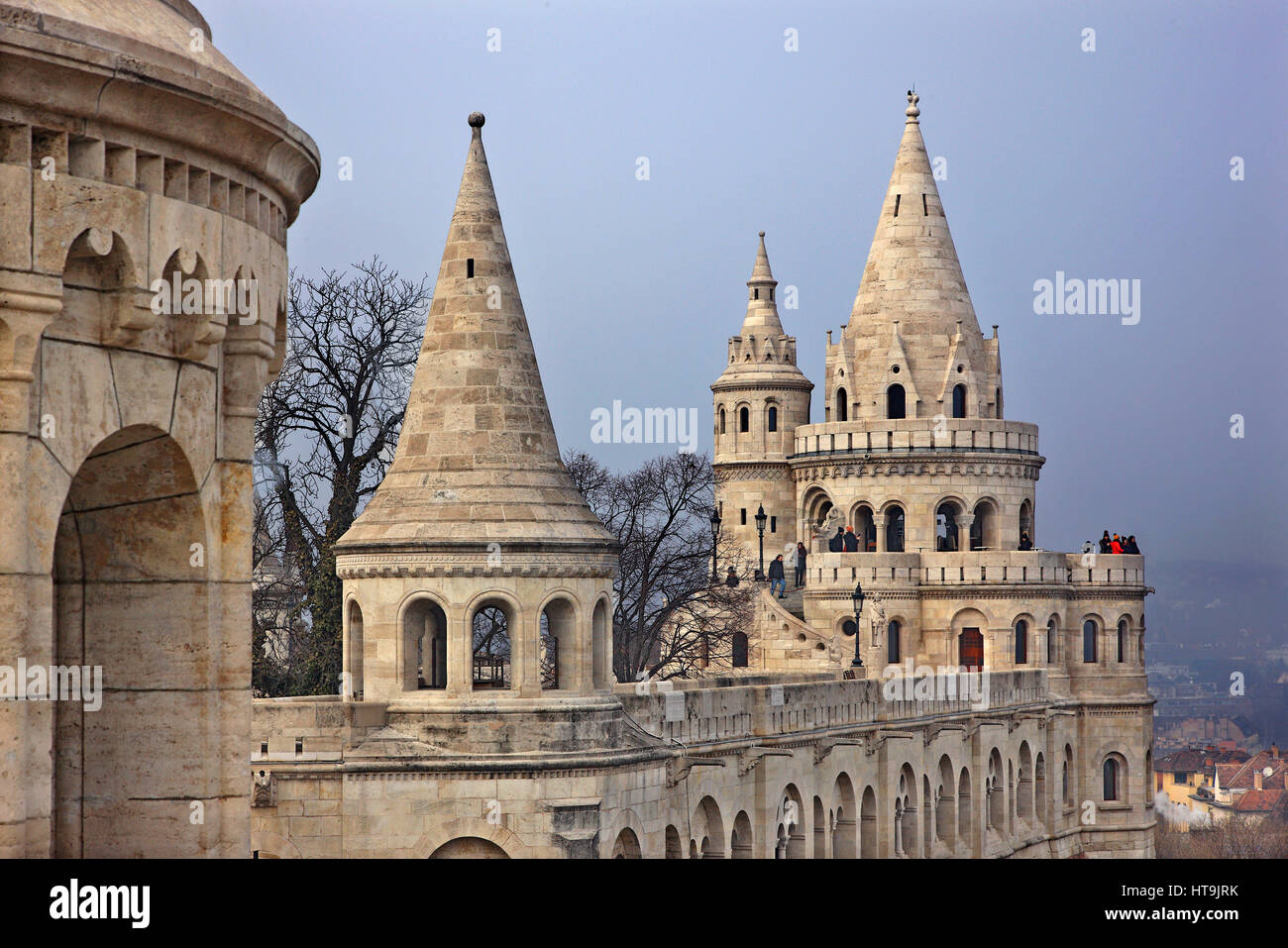 The 'Fisherman's Bastion', Castle Hill (Varhegy), Buda, Budapest, Hungary - Stock Image