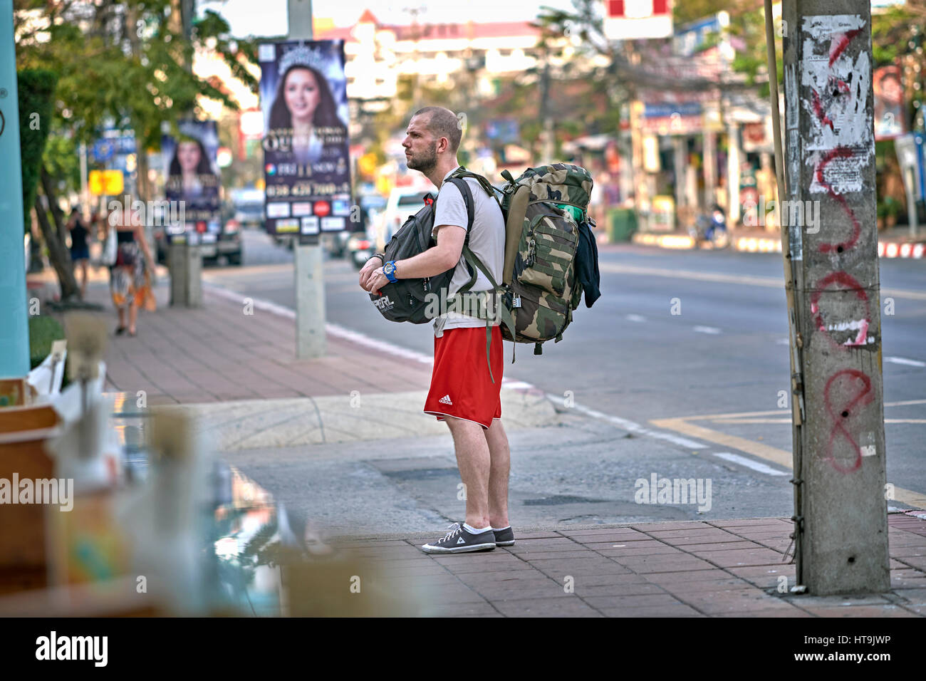 Backpacker Thailand tourist - Stock Image